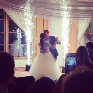 Kissing over indoor sparklers
